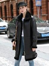 OFTBUY Echt Pelzmantel Winter Jacke Frauen doppelseitigen Pelz Echt Leder Mantel Natürliche Schafe Pelz Dicke Warme Streetwear oberbekleidung