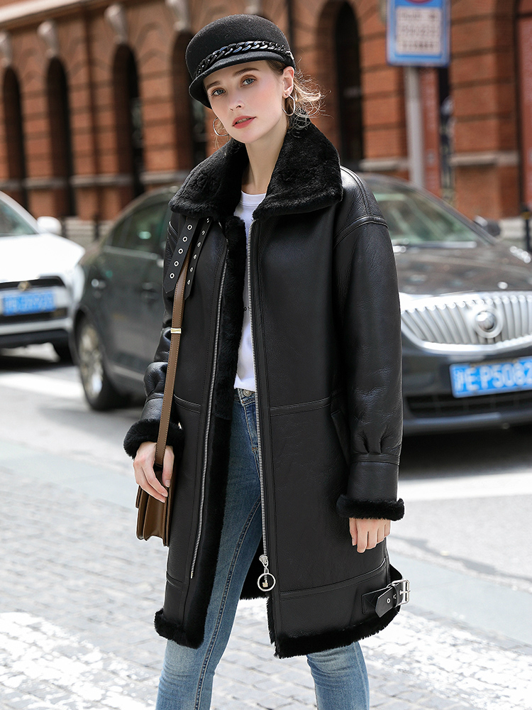 OFTBUY Real Fur Coat Winter Jacket Women Double-faced Fur Real Leather Coat Natural Sheep Fur Thick Warm Streetwear Outerwear