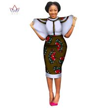 0befed5803 New Style 2018 Christmas Party Dresses for Women Bazin Stand Collar African  Clothes Dashiki Lotus leaf