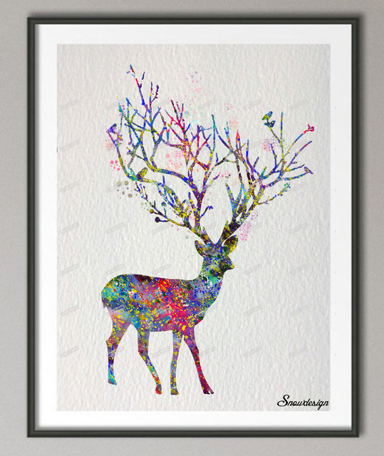 original reindeer watercolor canvas painting wall art poster print pictures home decor wall hanging christmas gift