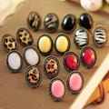 2014 Real Trendy Crystal Zinc Alloy Big Circle Gem Red Black Yellow Leopard Earrings for Women New Fashion