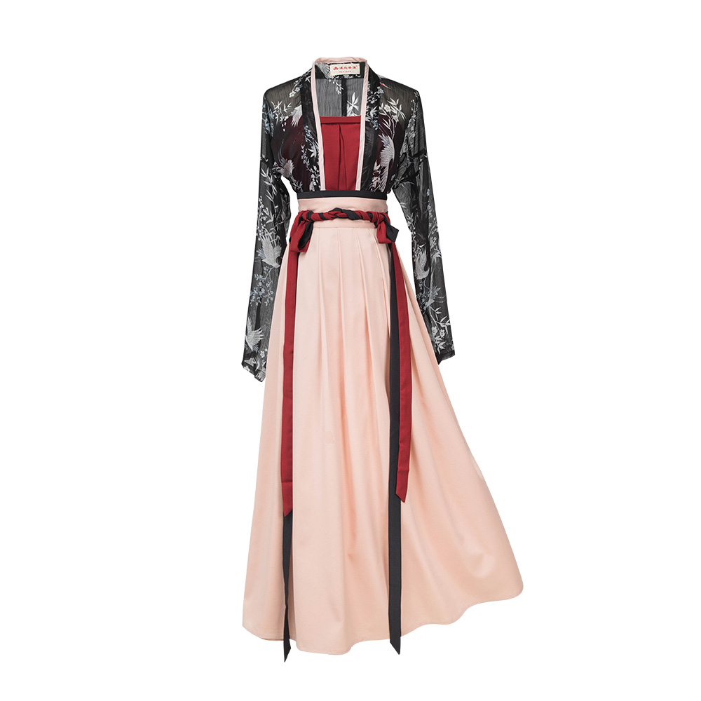 Fashion Style Traditional Dress Women's Clothes Narrow Sleeves Waist-Length Spring/Summer Crane Printing