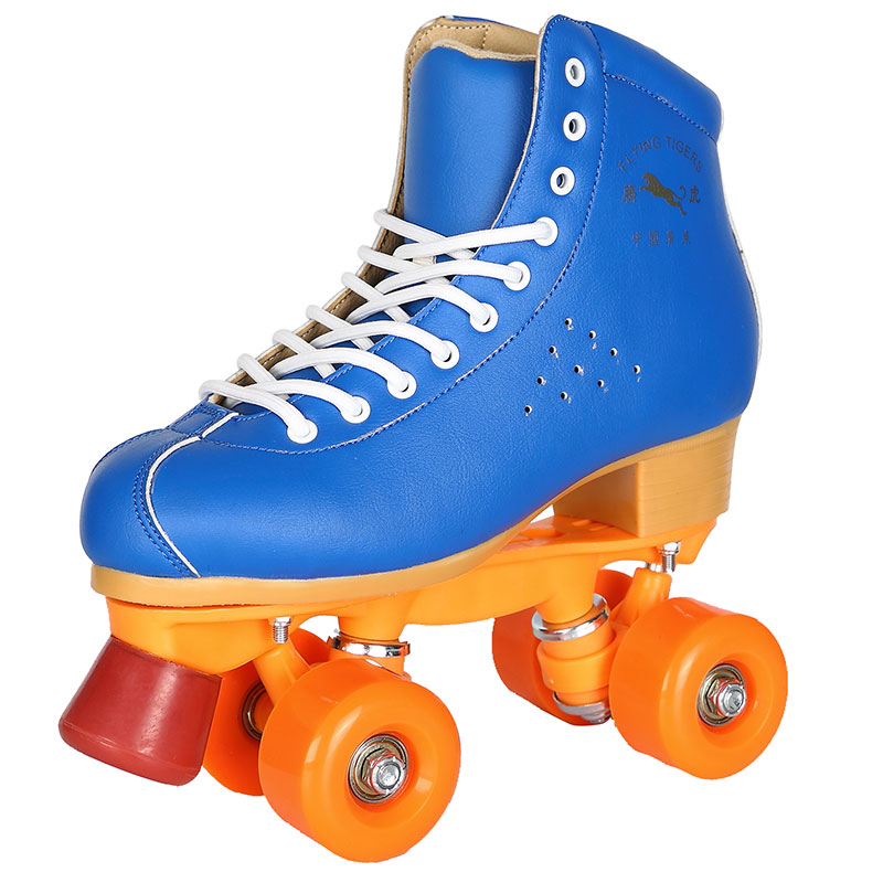 Brand New High Quality Quad Roller Skates Blue Color Double Line 4 PU Wheels Skating Boots Shoes new adults quad roller skates boots cow leather lace up double line skating shoes 4 wheels roller shoes purple