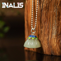 INALIS 2018 Newest Unique Design 925 Sterling Silver Lotus Hetian Jade Pendant Link Chain Necklace for Women Wedding Jewelry