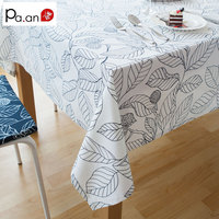 Promotion moderne style noir et blanc feuilles table d'impression tissu pour partie de pique-nique hôtel accueil deoration rectangulaire nappes