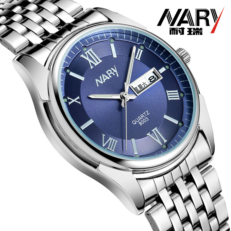 NARY Luxury Fashion Watch Men Women Stainless Steel Band Quartz Watch Retro Roman numerals Business Wristwatch