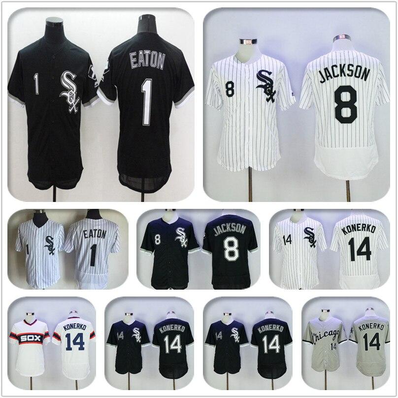 cfaf6389 ... 2016 1 Adam Eaton 8 Bo Jackson 14 Paul Konerko Mens stitched jersey  throwback color black ...