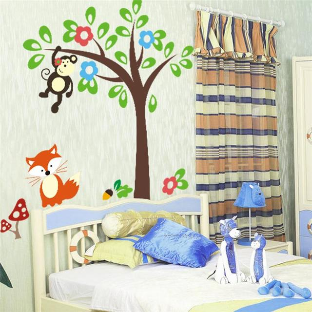 Kids Bedroom Tree aliexpress : buy monkeys tree wall decal kids bedroom