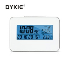 DYKIE New Arrival Global Radio Controlled Clock Blue Backlight Digital Indoor Thermometer Portable Rectangle Weather Station