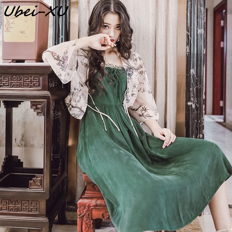 Ubei New Arrival Summer vintage lace strapless dress with chiffion shirt high waist green long braces
