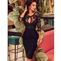 Sexy Short Black Lace Three Quarter Sleeve Two Piece Special Occasion Prom Dress Robe De Bal Stunning Formal Gowns