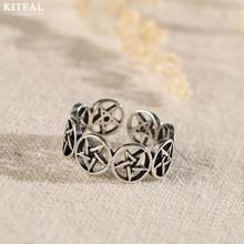 Kiteal Vintage Personality Hollow Round Star opening black Thai Silver Ring For Women 925 Jewelry anel S-R306