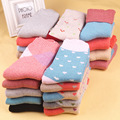 Winter Thermal Cashmere Socks Women Warm Rabbit Wool Socks Female Geometric Cute Warm Soft  Long Thick Socks 5pairs/lot