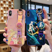 cartoon silicon case for iphone XS MAX XR X 7 8 6 6S plus case cover fashion bue ray wristband holder soft phone bag capa fundas strap tpu case for iphone 8 7 6 6s plus xr x xs max case cover fashion drink wristband holder soft silicon phone bag capa fundas