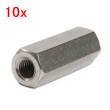10pcs Stainless Steel Hex Pitch Long Rod Coupling Screw Hex Nut Thread M8*30mm
