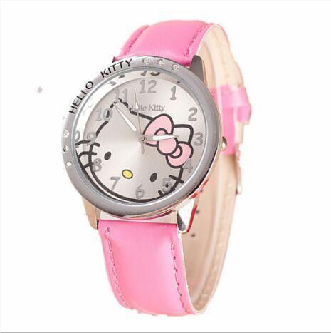 e63e93681 Cute Children's Watch Cartoon Hellokitty PU Leather Wristwatch hour clock  Quartz Wrist Watch for Girl Student hellokitty