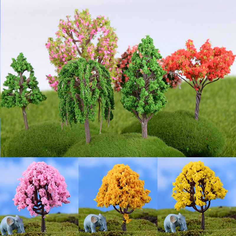 Simulation Trees 1PC Garden Microlandscape Miniatures Plastic Figurines Mini Home Decoration High Quality Hot Sale Sakura