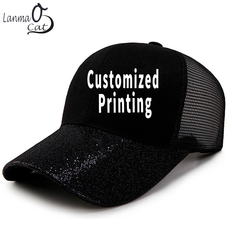 1601fef8e66532 Lanmaocat Bling Baseball Cap for Women Custom Design Glitter Baseball Cap  Men Female Sun Hat Snapback Trucker Cap Free Shipping