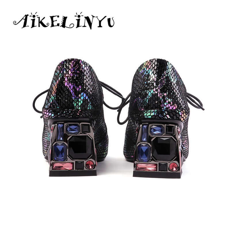 AIKELINYU Serpentine Sheepskin Pumps Woman High Heels Shoes Customized Women Shoes Plus Size 34 42 Classic High Heels Green Shoe in Women 39 s Pumps from Shoes