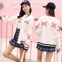 2017 Autumn New Female College Wind Fashion Cross Loose Korean Jacket Cute Short Baseball Shirt Jacket
