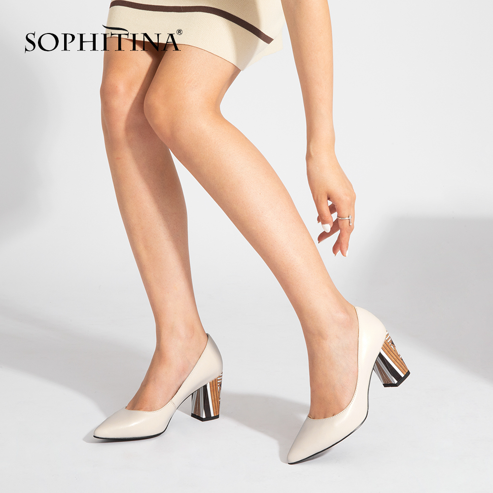 SOPHITINA Woman Pumps Fashion Mixed-Colors High Quality Genuine Leather Comfortable Square Heel Shoes Hot Sale Design Pumps A84
