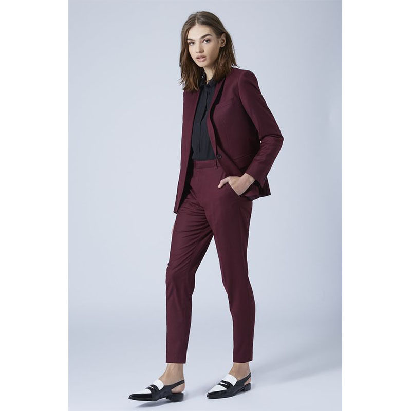 New Burgundy Formal Women Suits Pants Elegant Female Trousers Suits Office Uniforms Tuxedos B225