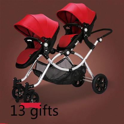 13 presentes os gêmeos de alta paisagem do carrinho de criança antes e depois da dupla pode sentar-se pode mentir High end conveniente