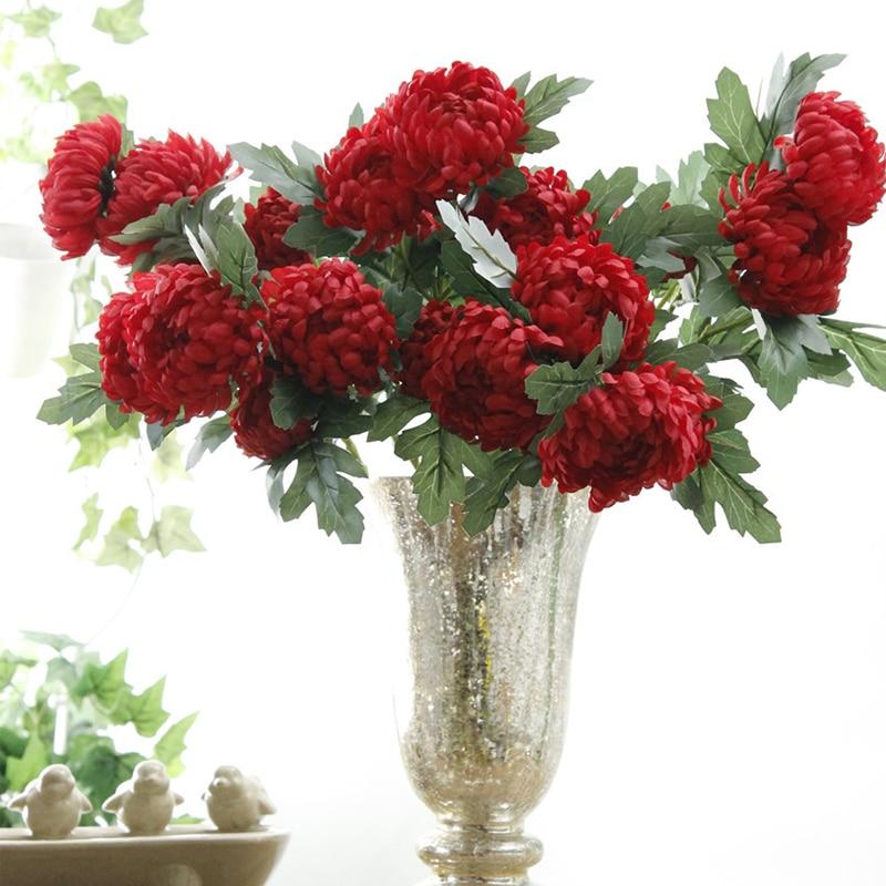 5 головок Бархатцы искусственные хризантемы шелковые цветы Флорес для дома и сада Свадебные украшения поддельные ветка с цветами венок