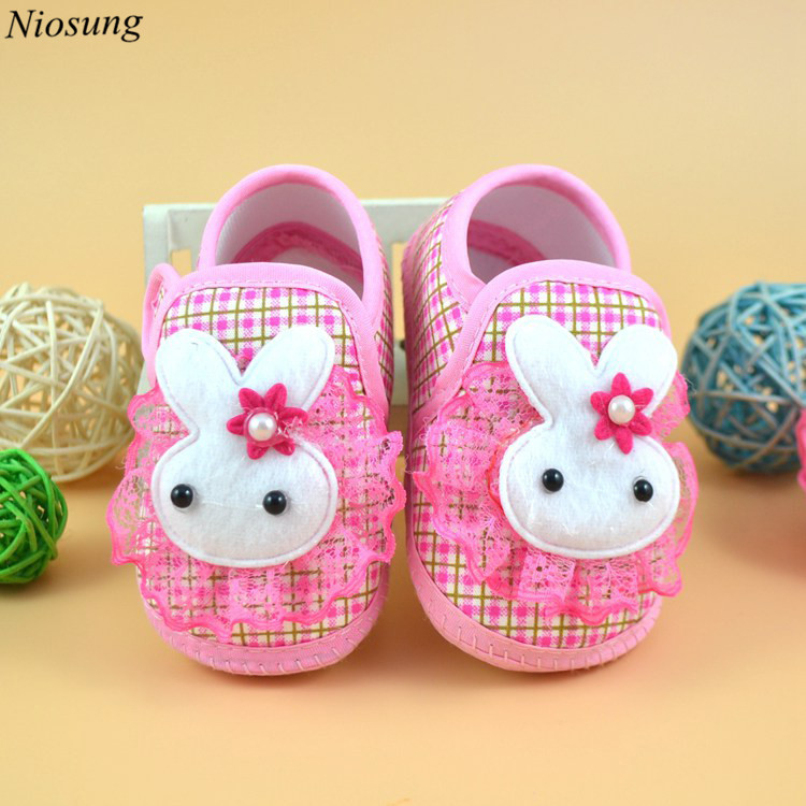 Newborn Baby Girl Soft Cloth Sole Crib Toddler Shoes Bowknot Canvas Non-slip Sneaker Infant First Walkers Shoes