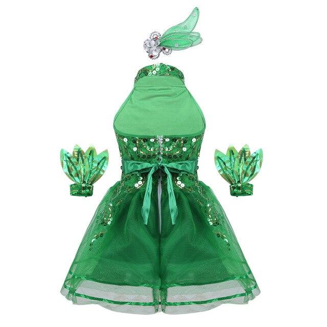 Kids Girls Sleeveless Green Shiny Sequins Stage Performance Jazz Dance Costume Children Girls Ballet Tutu Mesh Dress Set 1