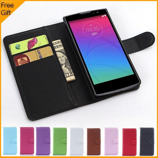 Luxusní PU kožené pouzdro Flip Pouzdro pro LG Spirit 4G LTE H440N H420 Pouzdro na mobilní telefon Zadní kryt s pouzdrem na kartu a dárkem Černá