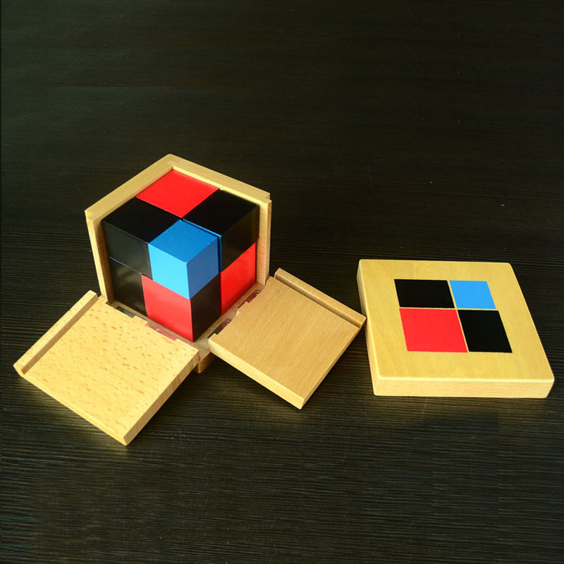Montessori Education Beech Wood Binomial Cubes  Math Toys  Early educational toys  Can Smarter Free Shipping montessori education 0 10 numbers odevity pedestal beech wood math toys early educational toys free shipping
