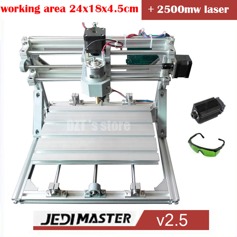 CNC 2418+2500mw laser GRBL control Diy high power laser engraving CNC machine,3 Axis pcb Milling machine,Wood Router+2.5w laser electronic blocks diy cnc laser engraving machine control board 3 axis grbl toy parts