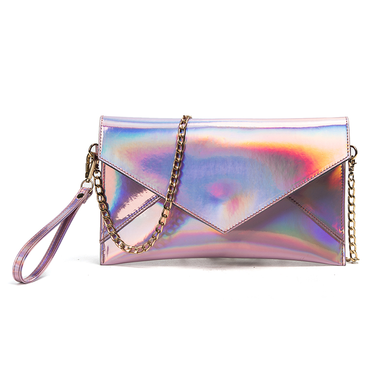 2017 Hot Sales Women Bags New Women Laser Silver Color Handbags Hologram Envelop