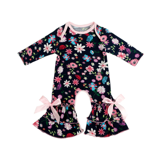 Fall winter Wholesale Baby Icing Ruffled leg Romper Flower Prints ...