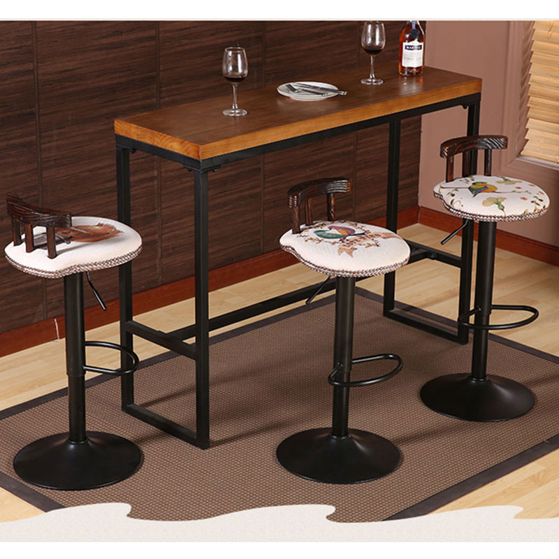 Iron Art Bar Chair European-style Bar Chair Lifting High Footstool Household Backrest Stool Kitchen Bar Stool Coffee Funiture