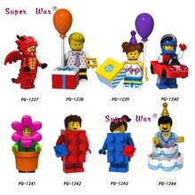 Single Race Car Dragon Suit Guy Birthday Cake Flower boy Girl Brick Collectible Series 18 building blocks toys children(China)