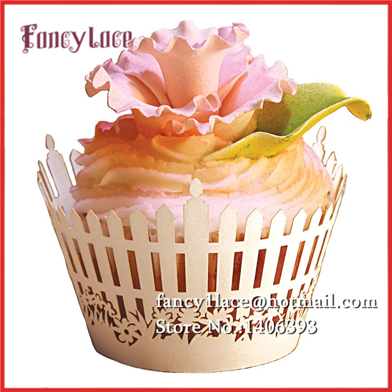 60pcs Garden Flower Laser Cut Cupcake cake Wrapper Liner Baking Cup paper for wedding birthday tea party decoration Wholesale