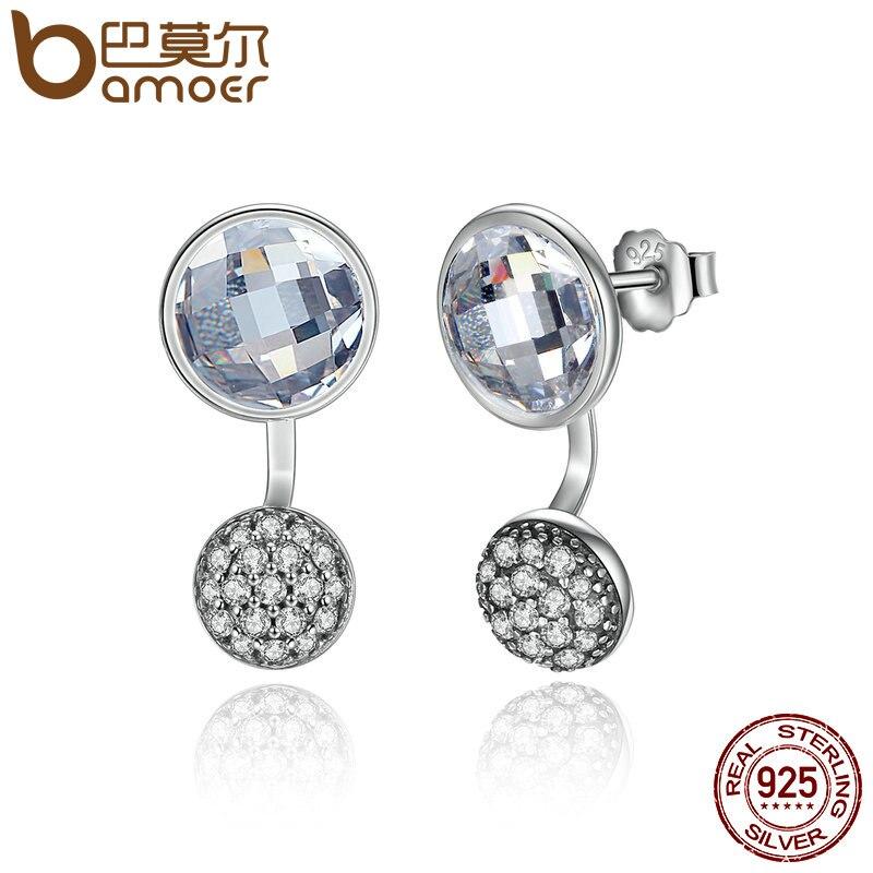 BAMOER 2016 New Arrival 925 Sterling Silver Dazzling Poetic Droplets Clear CZ Stud Earrings Women Wedding