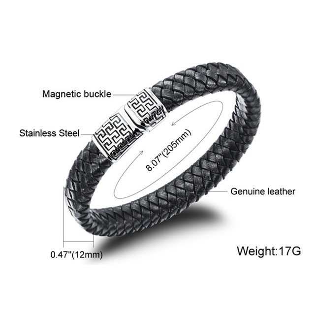 OBSEDE Fashion Black Leather Bracelet Braided Bracelet for Men Jewelry Punk Stainless Steel Magnetic Clasp Unique Gifts