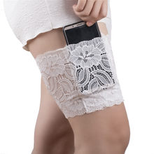 2019 Leg Warmers Women Black Sexy Lace Thigh Bands Slim Bandelettes Phone Card Pocket Beenwarmers Boot Socks One Piece New Hot(China)