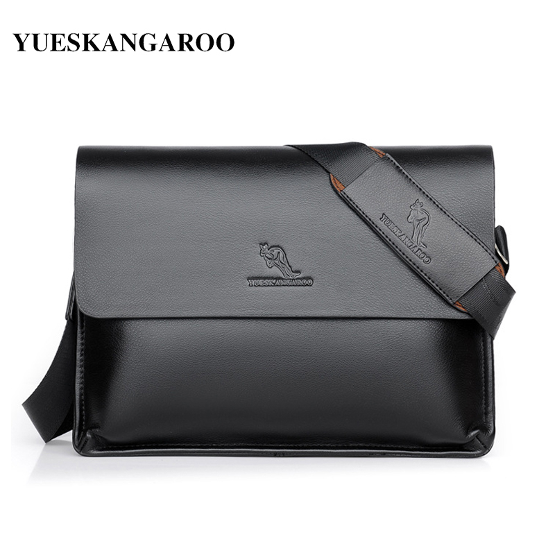 YUES KANGAROO Brand Designer Leather Large Capacity Crossbody Bag Men Messenger Bags Business Shoulder Handbags Briefcase yues kangaroo brand men bag leather casual high quality shoulder crossbody bags classical business briefcase mens messenger bag