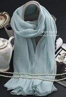 Luz Azul 100% de Crepé De Seda pura Larga pashminas y chales suave seda bufandas para las mujeres bufandas de protección solar del verano delgada camiseta hiyab