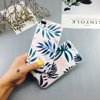 Candy Color Leaf Print Phone Case for iPhone Cactus Plants Fashion Soft TPU Rubber Silicon Cover  1