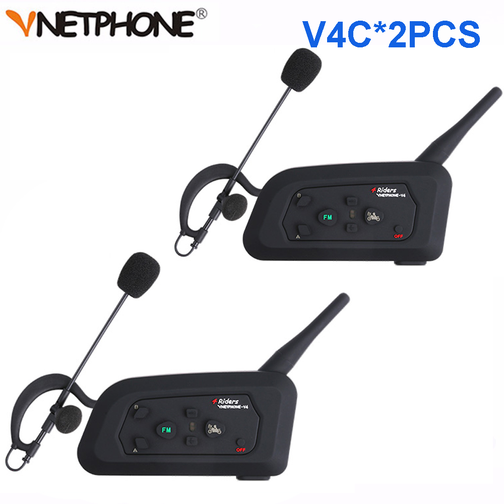 2 pièces Vnetphone V4C 1200 M en Duplex intégral Football arbitre Interphone casque Bluetooth casque avec Radio FM BT Interphone écouteur