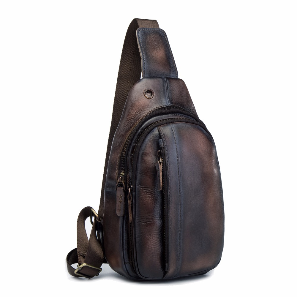 Top Quality Men Leather Casual Fashion Travel Chest Pack Sling Bag Design Triangle One Shoulder Cross Body Bag Daypack XB010db