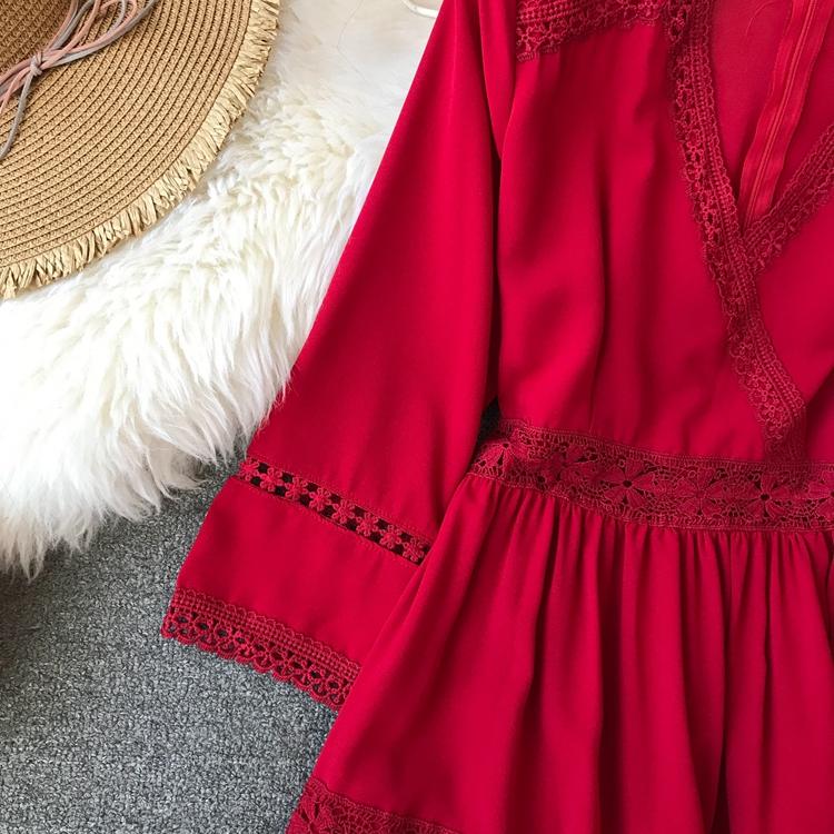 Women Bohemian Dress Lady Half Sleeve V Neck Red and White Beach Holiday Elegant Vestidos E152 20