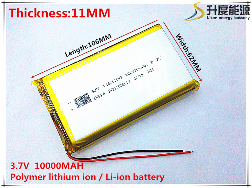 3 7V 10000mAh 1162106 Lithium Polymer Li Po li ion Rechargeable Battery cells For Mp3 MP4