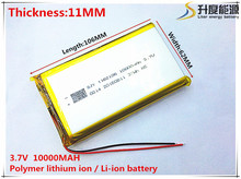3.7V 10000mAh 1162106 Lithium Polymer Li-Po li ion Rechargeable Battery cells For Mp3 MP4 MP5 GPS PSP mobile bluetooth