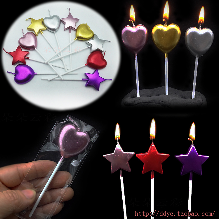 Us 0 98 Single Metal Paint Pure Gold Five Pointed Star Love Birthday Candle Bag Silver Pink Purple Cake Decoration In Cake Decorating Supplies From